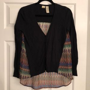 Anthropologie Mixed Material Cardigan